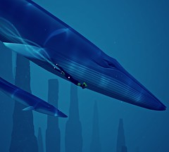 """Friend"" (L1netty) Tags: abzu 505games giantsquid pc games gaming reshade screenshot 4k videogame color blue swimming character underwater water whale"