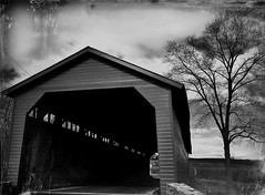 Thurmont MD ~ Utica Mills Covered Bridge (karma (Karen)) Tags: thurmont maryland frederickco bridges uticamillscoveredbridge mono daguerreotype picmonkey bw sliderssunday hss cmwd nrhp iphone topf25