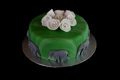 Elephant Birthday Cake (terencepkirk) Tags: elephant birthday cake canon fondant food rose roses green marble white grey victoria sponge jam cream