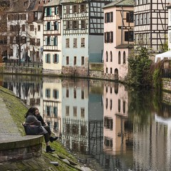 Take a Moment to Reflect (trainmann1) Tags: nikon d7200 nikkor 18200mm amateur handheld europe november 2017 fall vacation honeymoon strasbourg france strasbourgfrance french beautiful amazing scenic postcard reflect reflection buildings architecture building water canals canal colorful colors vibrant