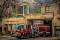 Happy Slider Sunday (Jims_photos) Tags: austinfiredepartment enginenumber13 texas trees topazlabssoftware topazsoftware topazlabs outdoor outside adobelightroom adobephotoshop austintexas austintx austin shadows slidersunday daytime downtown downtownaustin jimallen jimsphotos jimsphotoswimberleytexas cloudy clouds vintage nikond750