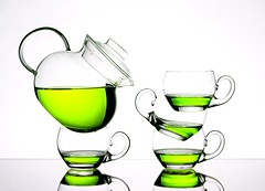Green Tea (Karen_Chappell) Tags: green tea white teapot teacup teacups beverage liquid drink stilllife cups cup balance stack glassware