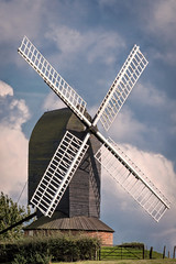 Rolvenden Windmill (Jez22) Tags: windmill sky mill landmark field rotation wind energy outdoors historical rolvenden kent wooden painted black sails sweeps postmill turret rooftops copyright jeremysage england