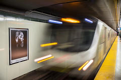 Don't Flinch (cookedphotos) Tags: 2018inpictures toronto ontario canada canon 5dmarkiv ttc subway osgoode apple iphone poster advertisement train speed blur flinch chicken 365project p3652018 streetphotography