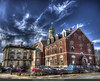 Electric clouds over the courthouse (Pearce Levrais Photography) Tags: building courthouse hdr canon 7d markii architecture cloud sky surreal landscape historic fence car stone brick window weathervane