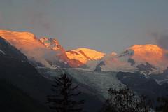 Mont Blanc in the sunset. Alpenglühen. Alpenglow. (elsa11) Tags: alpenglühen alpenglow montblancmassif montblanc sunset chamonix alps alpen mountains hautesavoie france frankrijk auvergnerhonealpes gletscher gletsjer glacier alpineglow glacierdesbossons explore