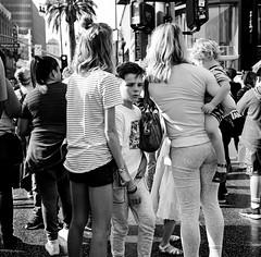 boyhood (gguillaumee) Tags: film analog grain square mediumformat rolleiflex fujineopanacros 100iso streetphotography street hollywoodboulevard people crowd kid boy surrounded inbetween child teenager angst losangeles america usa