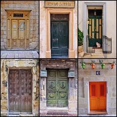 Maltese Doors (Douguerreotype) Tags: city buildings malta architecture urban sign door
