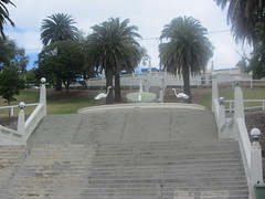 Flight of stairs and fountain, Geelong Waterfront! (d.kevan) Tags: australia victoria geelong waterfronts stairs fountains animals birds flamingos trees balustrades decorativedetails grass people streetlamps