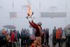 Varanasi in the Morning Mist (pallab seth) Tags: varanasi people devotee tradition morning prayer ritual ganga river holydip banaras benaras india ganges religion religious belief traditional culture asia hindu hinduism bathing candid winter fog mist arati offerings priest