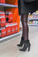 Rosina in the shopping mall - in red leather leggings and ankle boots (Rosina's Heels) Tags: leather high heel boots