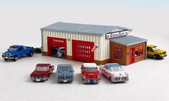 Classic Car Garage (Mad physicist) Tags: lego garage miniland cars 122 fastloud wheelerdealers