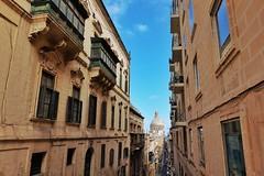 Malta Streets (Douguerreotype) Tags: cathedral church city window balcony buildings malta architecture dome valletta urban street