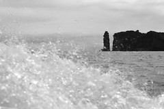 Earth, water, air (Elios.k) Tags: horizontal outdoors nopeople boat water splashing splash waterdroplets breakingthewaves wave blackandwhite bw monochrome dof depthoffield shallowfocus focusinbackground foregroundblur bokeh ilheudaviladocampo island volcaniccrater rockcolumn rocks volcano naturalreserve protectedswimmingarea craterinsea clouds cloudy sky weather sea atlanticocean seascape travel travelling june2017 summer vacation canon 5dmkii photography vilafrancadocampo municipality saomiguel sãomiguel acores azores portugal europe ilheudeviladocampo ilheudevilafrancadocampo ilheudevila