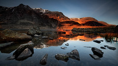 glow (shutterbug_uk2012) Tags: uk united kingdom wales snowdonia cwm idwal sunrise dawn mountains lake rocks reflections glow light warm calm long exposure landscape photography outdoors nikon d850 filters winter ogwen valley 3