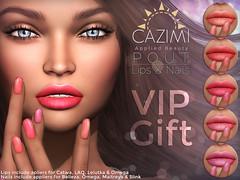 POUT - March VIP Gift (Dima Plessis - { C A Z I M I }) Tags: cazimi sl second life nail nails polish applier appliers maitreya belleza omega slink catwa lelutka laq makeup cosmetics lip lipstick vip gift