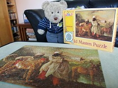 The box is nicer than the pussle... (pefkosmad) Tags: jigsaw puzzle vintage pastime leisure hobby waddingtons complete used secondhand oldmasterspuzzle qualitexboard varipiece cheetahandtwoindians georgestubbs detail art painting fineart tedricstudmuffin teddy ted bear animal toy cute cuddly soft fluffy plush stuffed