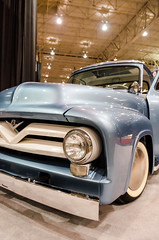 Super smooth F100 (GmanViz) Tags: gmanviz color car automobile vehicle detail chrome nikon d7000 1955 ford f100 pickupo truck custom modified grille hood fender bumper whitewall tire wheel