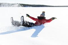 Falling in snow