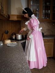 Pink Housemaid (blackietv) Tags: maid dress gown pink white pvc petticoat apron tgirl transvestite crossdresser crossdressing transgender kitchen cooking