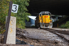 3 Miles From the Old Riverbed (jwjordak) Tags: milepost concrete 2372 ccrl overpass gp392 switchstand train cleveland ohio unitedstates us
