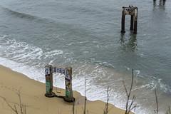 (thedankandthedark) Tags: tags rebel graffiti foggy sand water california highway1 hwy1 pacificocean beach ocean pier abandoned davenport