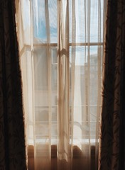 05/03/2018 (carcioneelena) Tags: paris city france trip travel work hotel ruevaneau view window sun light sky colours pink orange blue pastel landscape balcony bedroom interior curtains details capture photography vsco