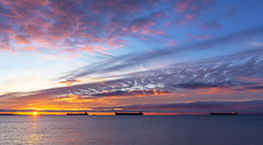 Morning Ships (Paul Rioux) Tags: morning sunrise daybreak dawn early water ocean sea seascape clouds weather scenic juandefucastrait salishsea commercial ship boat vessel freighter bulkcarrier prioux
