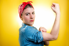 They can do it! 67/365 (stevemolder) Tags: womens day international yellow we can do it canon strobist westcott bandana blue woman female feminism 365 photo challenge march equal rights