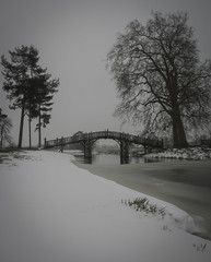 The Chinese Bridge in winter - Explore 090318 (cliveg004) Tags: croome croomecourt chinesebridge bridge croomepark nt nationaltrust worcestershire winter snow trees ice water frozen oak wooden countryside park nikon d5200