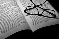 Week 4 - Creative: Quiet Moment (A Good Classic) (Ben Aerssen) Tags: reading book glasses pages words text monochrome blackandwhite bw black white grey gray plastic paper glass dogwood2018 dogwood2018week4 dogwood52 classic quiet moment waroftheworlds novel