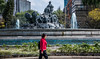 2018 - Mexico City - Roma Norte - Fuente de Cibeles (Ted's photos - For Me & You) Tags: 2018 cdmx cityofmexico cropped mexico mexicocity nikon nikond750 nikonfx tedmcgrath tedsphotos tedsphotosmexico vignetting fuentedecibeles fountainofcibeles romanorte red redrule walker fountain waterfountain chariot horses lions plazacibeles railing female lady