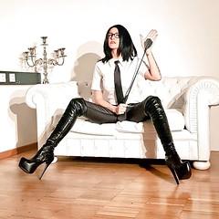 (vujo1017) Tags: mistress leather shirt tie women strict uniform uniformed boots pvc