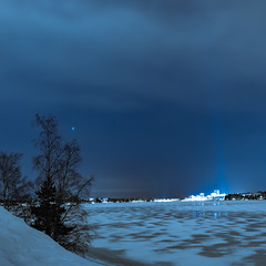 (thom1331) Tags: art snow ice winter frozen lake cold night sky clouds stars