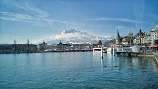 #luzern by the lake. Mount #pilatus stands out majestically.