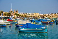 Marsaxlokk Fishing Village, Malta (aniceglassofred) Tags: fishing boat village malta sea marsaxlokk nikon holiday march d810 harbour bay blue sky water market マルタ مالطا мальта 馬 flickrtravelaward sunday relax nikkor 28300 f3556g