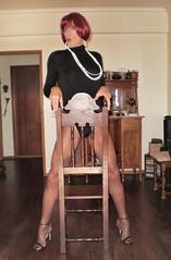 Karen (Karen Maris) Tags: tg tgirl tgurl karen legs heels tranny trannie transvestite transsexual transgender pantyhose tights sheer redhead crossdress crossdresser