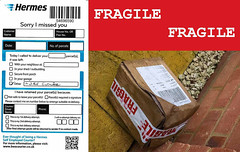 FRAGILE, BROKEN, WET - Thanks Hermes (fstop186) Tags: hermes courier fragile stupid broken delivery wet damaged olympusem1 olympusmzuikoed1240mm128toppro customercare customerservice hazard warning warningtape hink customersatisfaction
