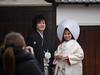 young couple in traditional wedding clothes (kasa51) Tags: people street wedding couple traditionalclothe kimono kurashiki okayama japan 白無垢 綿帽子