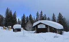 Champex-Lac (bulbocode909) Tags: valais suisse champexlac montagnes nature hiver neige bars cabanes forêts arbres nuages stratus bleu jaune ski