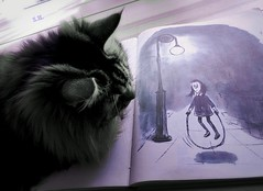 'Here I am, Little Jumping Joan... (pianocats16) Tags: little jumping joan charles addams mother goose art vintage illustration book cat cute fluffy