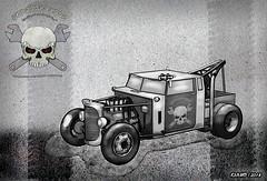 Junkyard Rods Tow Truck (kenmojr) Tags: towtruck hotrod ratrod bw digital illustration car truck vehicle transportation automobile retro sketch 3d