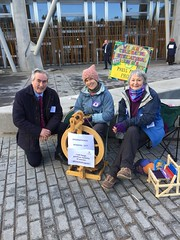 With Haddington Spinners and Weavers reps outside Parliament