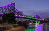 Story Bridge in Purple and Green (Rodney Topor) Tags: bluehour bridge brisbane brisbaneriver longexposure reflection river storybridge xt2 xf1024mm