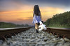 DAN_2699 (idanupong) Tags: away railway woman girl person railroad rail alone walk transportation train one run way track road shoes adventure long vintage line hot independence journey life across dress haunted concept urban waiting child kid target view scared rushing trip rush out platform rails commute clothes baggage station displeased negativity disappointed cry