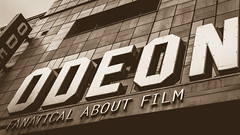 Odeon Cinema wall name sign low angle (Jacek Wojnarowski Photography) Tags: architecture blurbackground bokeh bottomview bristol builtstructure culturalbuildings day depthoffield editorial england europe facade frontview modern name new outdoor rightsideview selectivefocus sepia sepiatone sign softfocus spring stilllife uk sepiaphoto