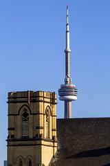 Bathurst Street Theatre, CN Tower (jer1961) Tags: toronto cntower bathurststreettheatre gothic theatre church
