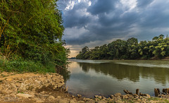Waiting for the ferryman (Rakuli) Tags: ifttt 500px river reflection sunset storm clouds green rainforest riverbank treelined