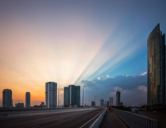 Light Fan (Matt Molloy) Tags: mattmolloy photography colourful sunset crepuscularrays sun light beams clouds blue sky road highway buildings skyscrapers city kingtaksinbridge chaophrayariver sathon bangkok thailand cityscape lovelife