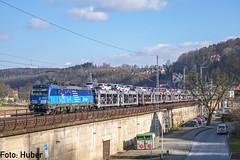 Mit... by alexhuber95 - ...Autos beladen, karrte 383 002 ihre BLG Güterwagen durch das Elbtal, in Richtung Westen durch Königsstein.